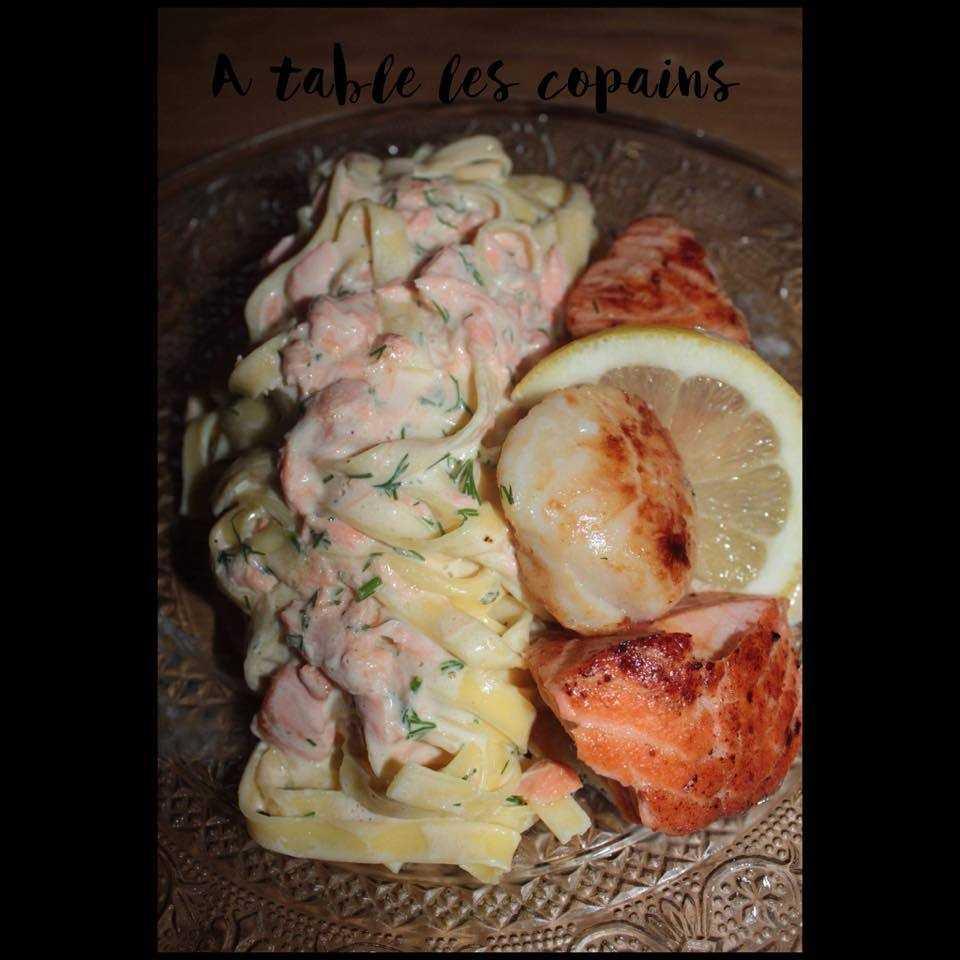 Tagliatelles au saumon et st Jacques, sauce aneth et citron