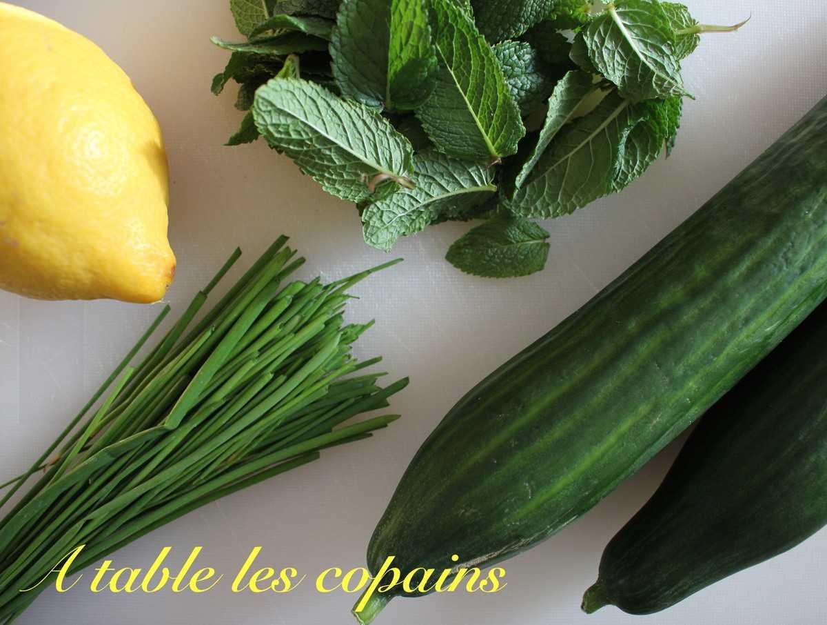 concombre menthe et ciboulette