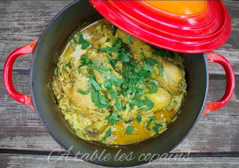 Poulet indien au yaourt, citron , curcuma et cardamome