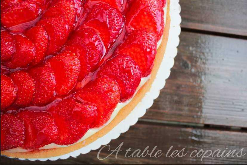 Tarte aux fraises sur sablé breton au beurre salé et crème mousseline