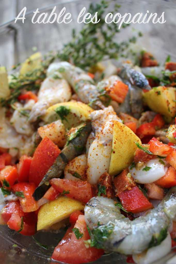 Supions et crevettes à la plancha, chorizo et piment d'espelette