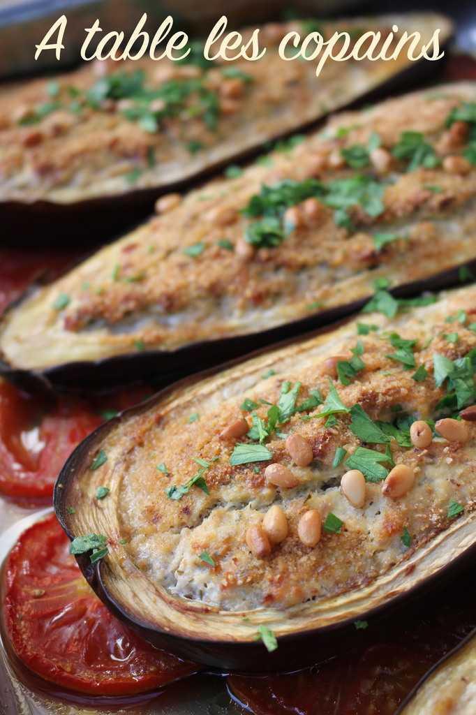 Aubergines farcies ricotta et pancetta