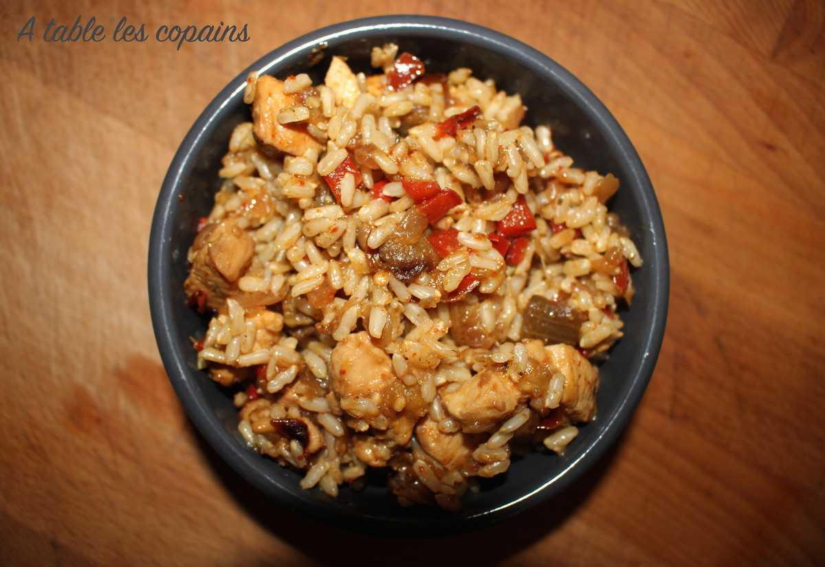 Riz complet au poulet, poivron, aubergine et piment d'espelette (recette fond de frigo)