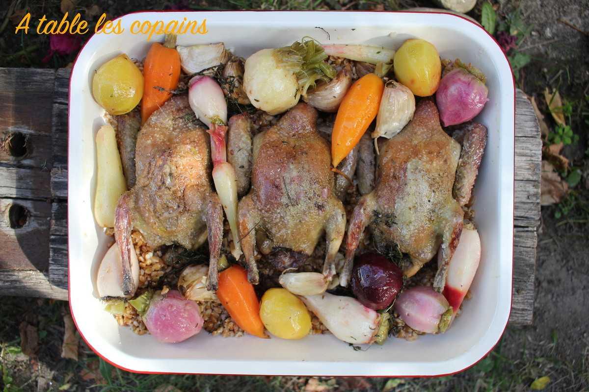 Pigeonneaux et petit épeautre au jus aux légumes racines